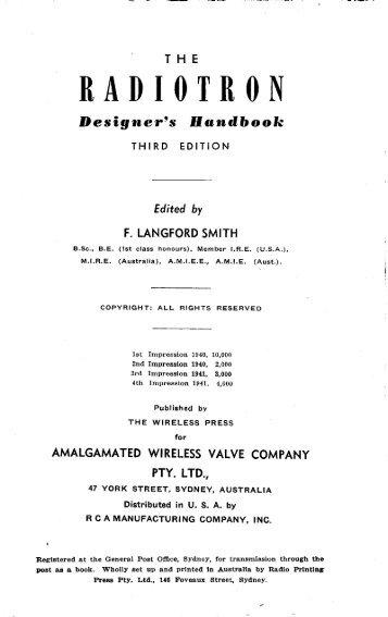 Radiotron Designer's Handbook, Third Edition - tubebooks.org