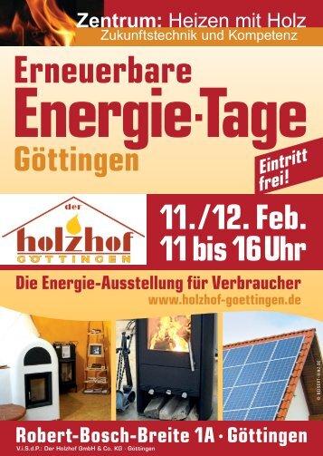 Energietage-Handzettel - Ausstellung Heizen mit Holz