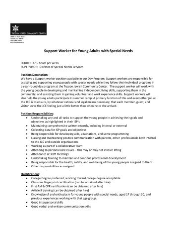 Support Worker for Young Adults with Special Needs