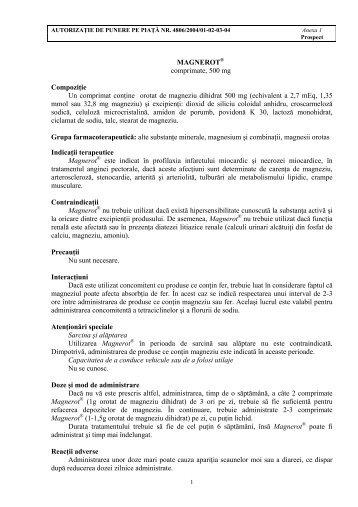MAGNEROT® comprimate, 500 mg Compoziţie Un comprimat ...