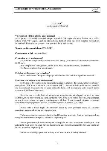 1 ZOLOFT® soluţie orală a 20 mg/ml Va rugăm să citiţi cu atenţie ...