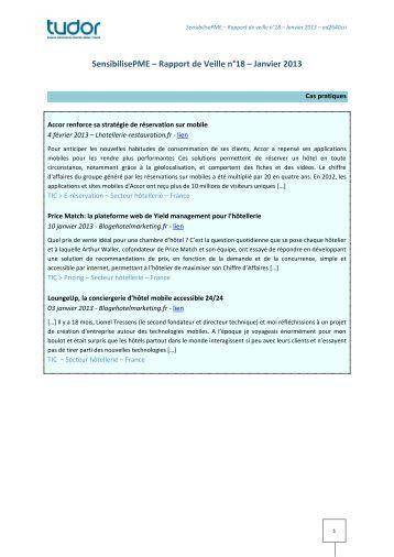 SensibilisePME – Rapport de Veille n°18 – Janvier 2013