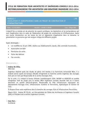 cycle de formation pour architectes et ingénieurs-conseils 2013 ...