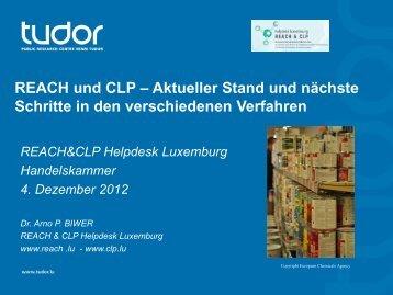 Arno Biwer, Helpdesk REACH&CLP; - CRP Henri Tudor