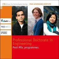 Professional Doctorate in Engineering: post-MSc programs
