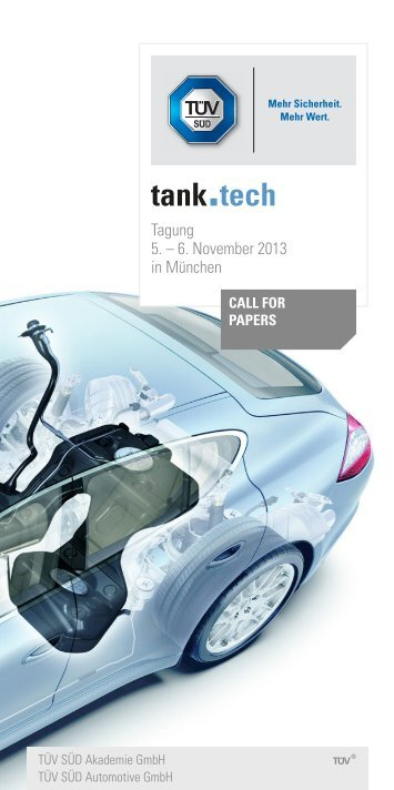 Call for Papers tank.tech 2013 - TÜV Süd
