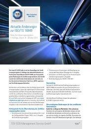 Aktuelle Änderungen zur ISO/TS 16949 - TÜV Süd
