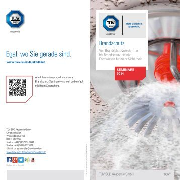 Brandschutz - Seminare 2014 - TÜV Süd