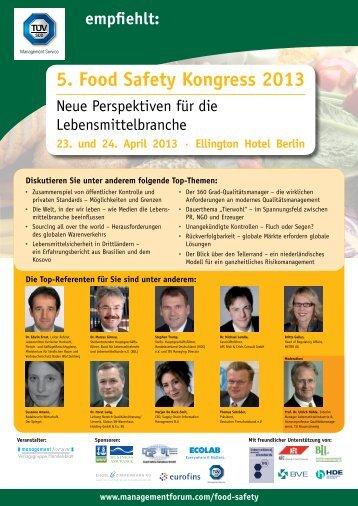 5. Food Safety Kongress 2013 - TÜV Süd