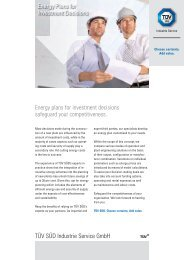 Energy plans for investment decisions safeguard your ... - TÜV Süd