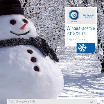 TÜV SÜD Winterakademie Seminare 2013-2014