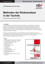 Methoden der Risikoanalyse in der Technik. - TÜV Austria
