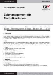 Zeitmanagement für Techniker/innen. - TÜV Austria