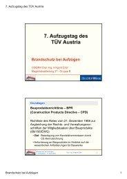 7. Aufzugstag des TÜV Austria Brandschutz bei Aufzügen