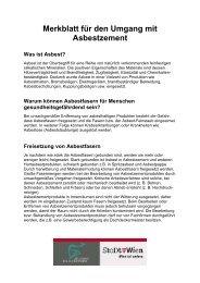 Merkblatt für den Umgang mit Asbestzement Was ist Asbest?