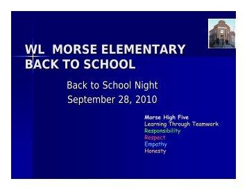 WL MORSE ELEMENTARY BACK TO SCHOOL