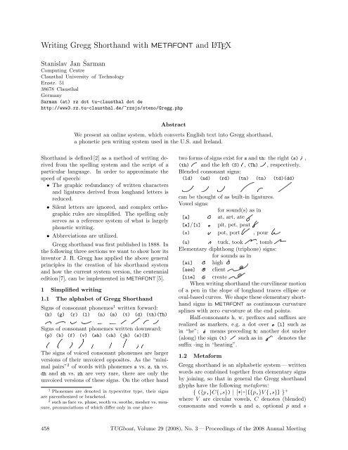Writing Gregg Shorthand with mEtaFoNt and LATEX - TUG