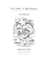 TUG 2001: A TEX Odyssey PROGRAM