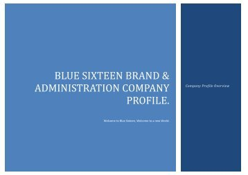 BLUE SIXTEEN BRAND & ADMINISTRATION COMPANY PROFILE.