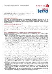Terra Reiseversicherung Sommer 2013 - TUI.at
