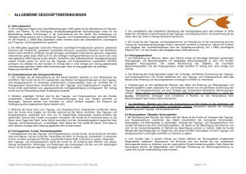• ALLGEMEINE GESCHÄFTSBEDINGUNGEN - Tagungs- und ...