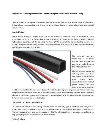 Silicone Rubber Tubing, Gaskets Provides Elastostar