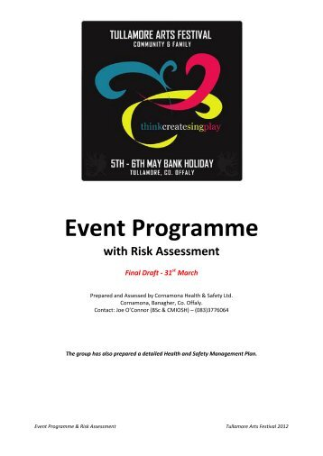 Event Programme with Risk Assessment - Tullamore Arts Festival