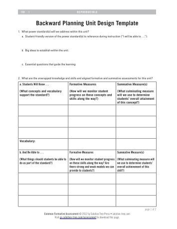 Cpi unit plan template target students Backwards design lesson plan examples
