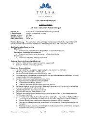Elementary School Principal - Tulsa Public Schools