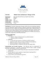 Middle School Administrative Manager (SAM) - Tulsa Public Schools