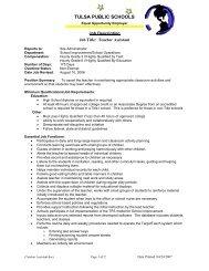 Job Title: Teacher Assistant - Tulsa Public Schools