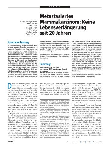 Metastasiertes Mammakarzinom - Tumorregister München