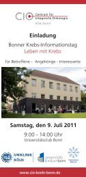Einladung Samstag, den 9. Juli 2011 - Tumorzentrum Bonn eV