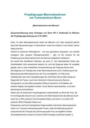 Mammakarzinom des Mannes - Tumorzentrum Bonn eV