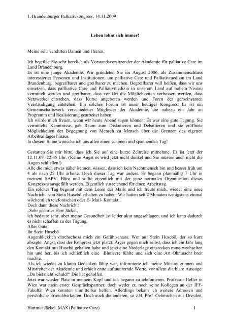 Jäckel_Leben lohnt sich immer - Tumorzentrum Land Brandenburg