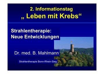 Strahlentherapie: Neue Entwicklungen - Tumorzentrum Bonn eV