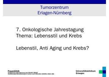 """Anti-Aging"" Prof. Dr. med. M.W. Beckmann - Tumorzentrum"