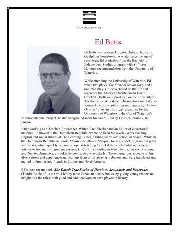 Ed Butts - Tundra Books