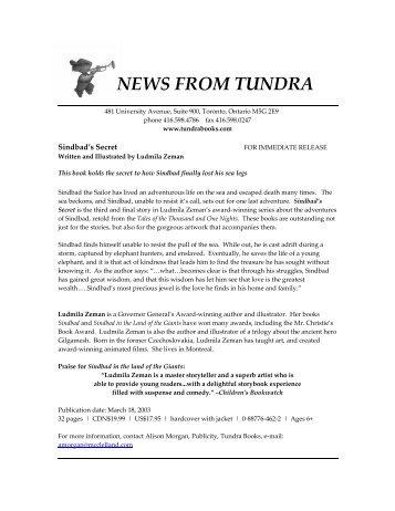 NEWS FROM TUNDRA - Tundra Books
