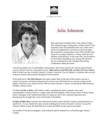Julie Johnston - Tundra Books