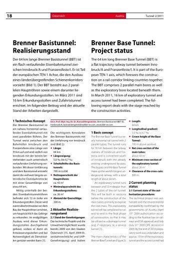 Brenner Basistunnel: Realisierungsstand Brenner Base Tunnel ...