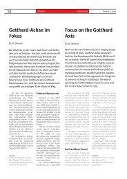 Gotthard-Achse im Fokus Focus on the Gotthard Axis - Tunnel