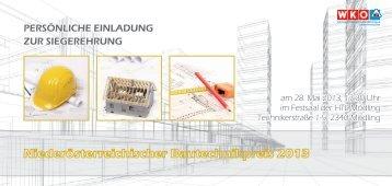 Einladung Bautechnikpreis 2013 - Landesinnung Bau