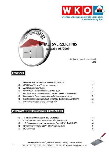 INHALTSVERZEICHNIS Ausgabe 05/2009 - Landesinnung Bau