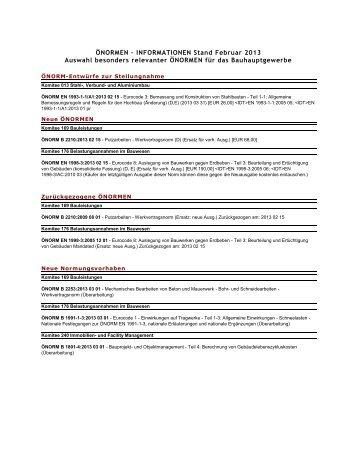 ÖNORMEN Stand Februar bis April 2013 - Landesinnung Bau