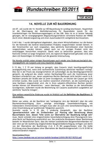 Rundschreiben 03/2011 - Landesinnung Bau