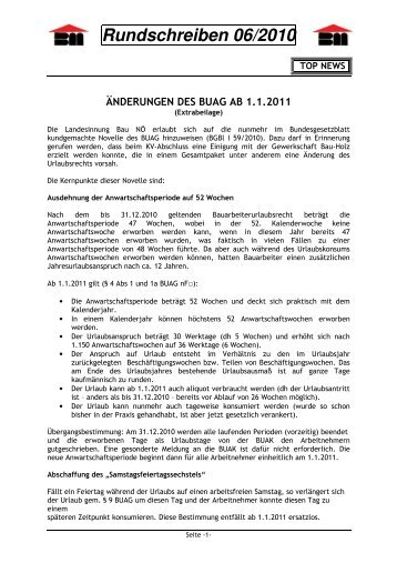 Rundschreiben 06/2010 - Landesinnung Bau