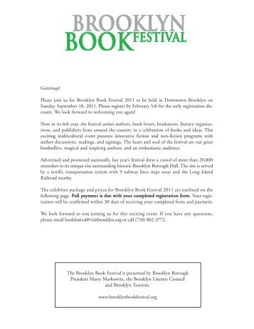 Greetings! Please join us for Brooklyn Book Festival 2011 to be held ...