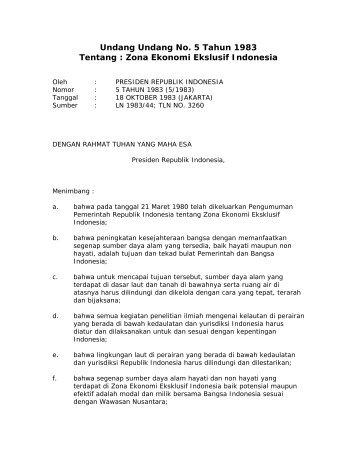Undang Undang No. 5 Tahun 1983 Tentang : Zona Ekonomi Ekslusif Indonesia