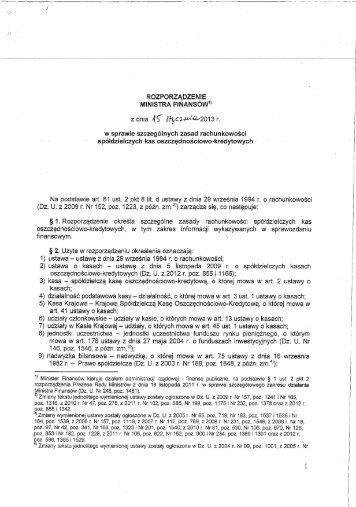 Rozporządzenie Ministra Finansów z dnia 15 stycznia 2013 r. w ...
